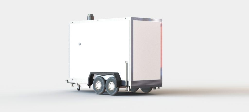 Bild einer mobilen heizung zum mieten in weiß mit doppelter Achse